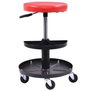 Adjustable Mechanics Rolling Creeper Seat Stool Tray Padded Repair Garage Red Us