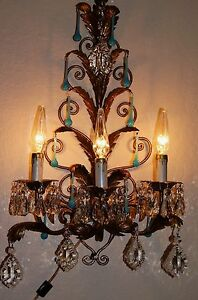 2 Vtg Tole Gilt Italy Chandelier Wall Light Opaline Blue Crystals Fixture 1950 S