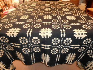 Antique Wool Coverlet Snowflake Windows Pattern Pine Tree Border Indigo 1830