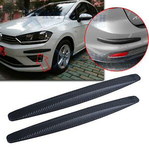 Carbon Fiber Pattern Front Rear Bumper Corner Extended Protect Lip Guard Trim