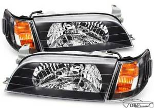 For 1993 1997 Toyota Corolla Jdm Front Headlights Black Housing Headlamps Lamps