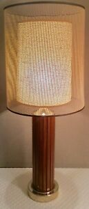Mid Century Modern Gruvwood Walnut Table Lamp W Original Double Shade 36 5