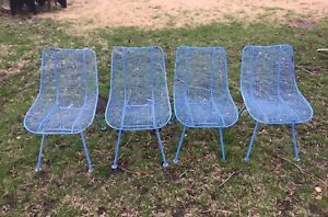1950 S Russell Woodard Sculptura Armchairs Chairs Table Patio Set Mid Century