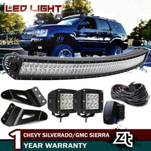 For Chevy Suburban Tahoe Gmc Yukon Xl 54 Curved Led Light Bar W Mount Brackets