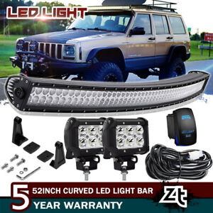 52 Curved Led Light Bar Combo 4 Pods Kit For Jeep Cherokee Xj Upper Roof Mount