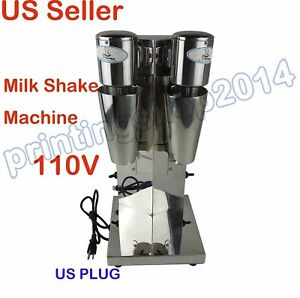110v Commercil Double Head Milk Shake Mixer Machine Stainless Steel 2cup Us Plug