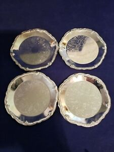 Silver Plated Coaster Approx 4 In Diameter Nib Set Of 4 Coasters