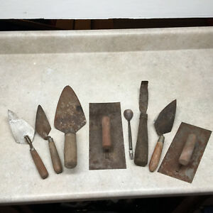 Vintage Mixed Lot Hand Tools concrete Finish Tools trowels W Wood Handles