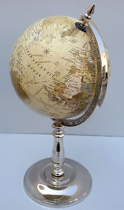 Nautical Rotating Beige Ocean Globe World Earth Geography Gift Table Decor