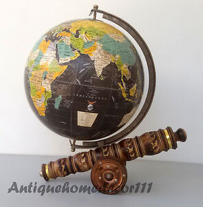 Antiques 12 Diameter Desktop Globe World Series With Canon Stand Best Gift