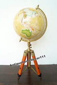 Studio World Desk Decor 12 Globe With Leather Tripod Stand Nautical Authentic