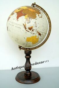 Vintage Earth World Globe 12 North Black Ocean With Wooden Base Best Gift