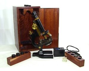 Antique Spencer Lens Co No 24455 3 Objective Lab Microscope W Light Circa 1914