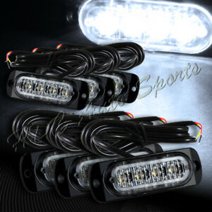 24 Led White Car Truck Emergency Beacon Warn Hazard Flash Strobe Light Universal