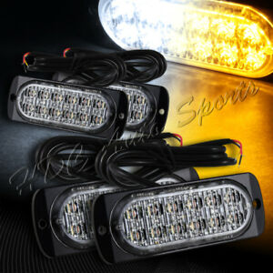 48 Led White amber Emergency Beacon Warning Hazard Flash Strobe Light Universal
