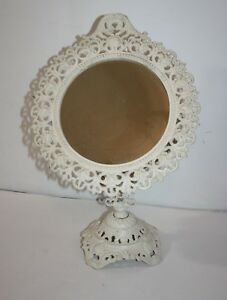 Vintage Cast Iron Ornate Swivel Vanity Mirror On Stand Iron Art 17