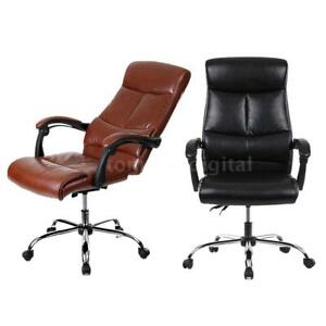 Leather Executive Home Office Chair 90 170 recliner High Back Computer Desk B9l0
