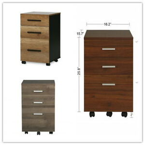 Orford Home Office Furniture 3 drawer Wood Mobile Filing Storage Cabinet Rolling