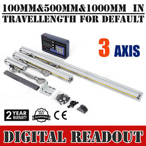 3 Axis Readout Digital Display Dro 3 Linear Scale For Mill Lathe Machine