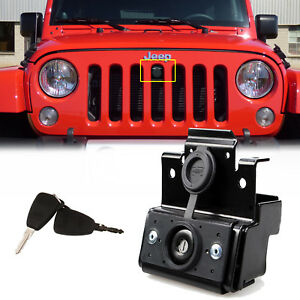 Black Security Hood Lock Engine Anti theft Assembly Set Fit 2007 Jeep Wrangler