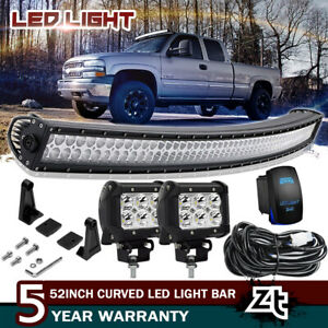 1989 1998 Chevy C k 1500 2500 3500 Suburban Truck Roof 52 Curved Led Light Bar