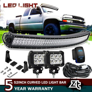 52 Curved Led Light Bar Combo Kit 1999 06 Chevy Silverado Tahoe Suburban Roof
