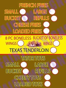 Fry chicken Menu Sign w price Circles Concession Trailer stand cart 18 x24 Pvc