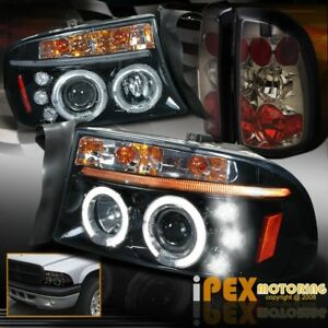 1997 2004 Dakota Halo Projector Halo Shiny Black Headlights Smoke Tail Light