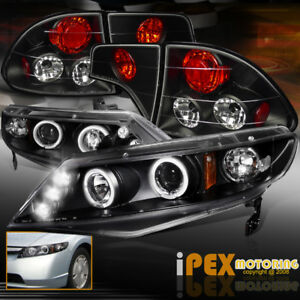 New For 06 11 Honda Civic 4dr Fa Halo Projector Led Black Headlights tail Lights