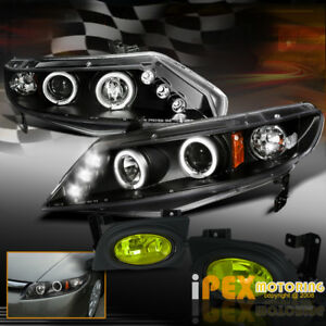 For 06 08 Honda Civic 4dr Halo Projector Black Headlights Oe Style Fog Light