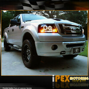 For 2004 2008 Ford F150 F 150 06 08 Mark Lt Halo Projector Led Black Headlights