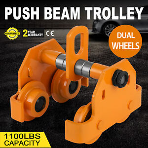 1 2 Ton Push Beam Track Roller Trolley Washers Included Adjustable Handling Tool