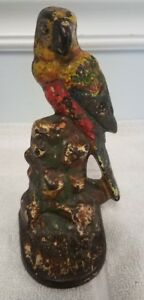 Antique Cast Iron Parrot Doorstop Or Bookend With Paint