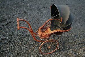 Antique Pram Vintage Baby Doll Carriage Stroller Buggy Clothe