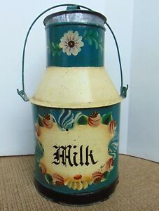 Vintage Metal Hand Painted Floral Tole Signed Wheeler Milk Can Lid And Handle