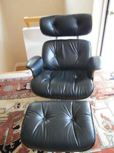 Vintage Lou App Plycraft Rosewood And Leather Eames Style Chair And Ottoman