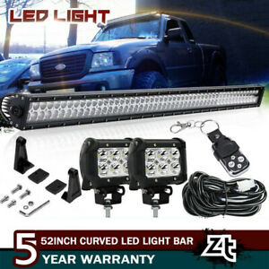 1993 2011 Ford Ranger 50 Curved Led Light Bar Combo Upper Roof Windshield Mount