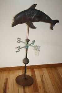 Vintage Copper Dolphin Weathervane 47 25 H X 27 5 L Needs Repair Great Patina