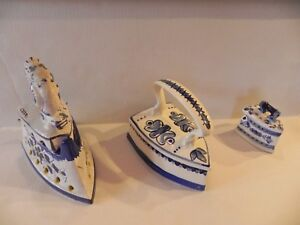 Set Of Three Spaniard Antique Porcelain Irons Imported From Spain