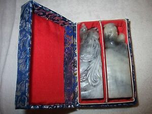 Mint Set Chinese Carved Marble Phoenix Fu Dog Stamp Seal Set Made In China