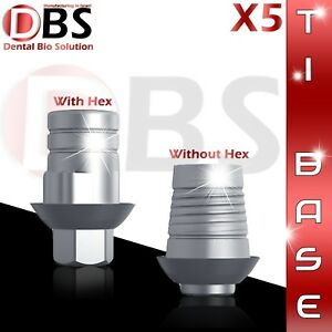 5x Cad cam Ti base For Dental Implant With Without Hex Zirkonzahn Compatible