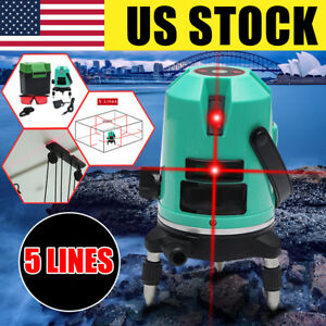 Automatic 5 Line Laser Level Red Self leveling 360 Rotating Cross Measure