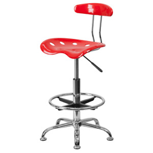 Delacora Lf 215 red gg 17 25 w Metal Swivel Seat Drafting Stool W Tractor Seat