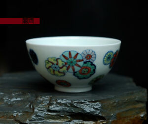 China Old Porcelain Doucai Hand Painting Leather Ball Flower Tea Bowl Cup