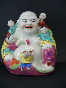 Chinese Famille Rose Porcelain Figurine Statue Laughing Buddha Hoi Toi Republic