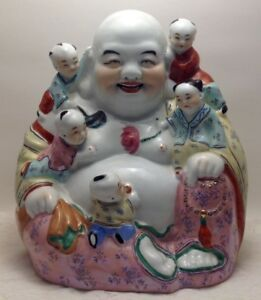 Vintage Large 10 Figurine Statue Fertility Buddha Children Famille Rose