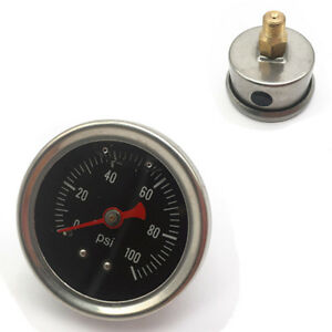 Fuel Pressure Regulator Gauge 0 100 Psi Bar Liquid Fill Chrome Fuel Oil Gauge