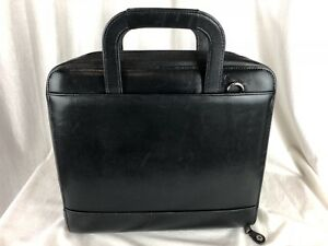 Franklin Covey Black Leather Planner Binder Briefcase Stow Handles 7 Ring 1 5