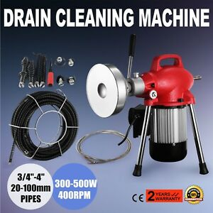 3 4 4 Sectional Pipe Drain Auger Cleaner Machine Flexible Electric Powerful