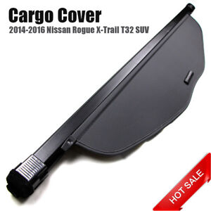 Black Rear Boot Trunk Security Shield Cargo Cover For Nissan Rogue X trail 14 16
